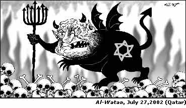 Jewish monster devil with pitchfork in shape of menorah (Qatar)
