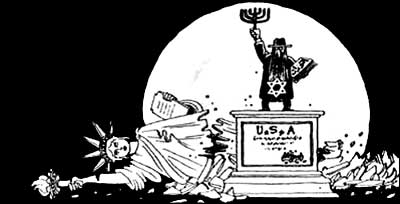 Jew with Torah and Jewish Star smashing the Statue of Liberty (Syria)
