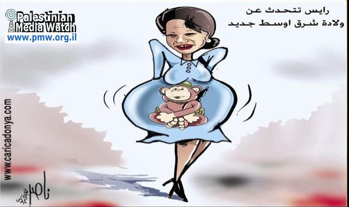 Cartoon:  Condoleezza Rice pregnant with a monkey.
