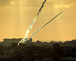 Rockets being fired from the Gaza Strip. (Haaretz)
