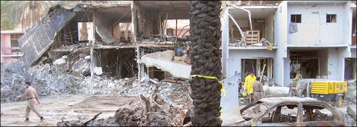 The powerful blast ripped an avenue of destruction between 200 villas in the compound in Riyadh, Saudi Arabia.